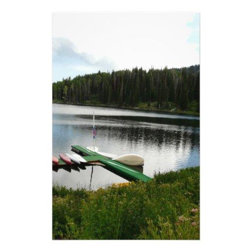 canoes on lake 2 personalized stationery