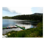 canoes on lake 2 post card