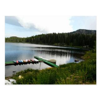 canoes on lake 2 postcard