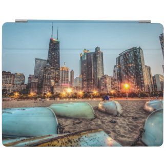 Canoes on Oak Street Beach a little after sunset iPad Cover