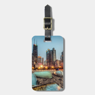 Canoes on Oak Street Beach a little after sunset Luggage Tag