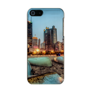 Canoes on Oak Street Beach a little after sunset Metallic Phone Case For iPhone SE/5/5s