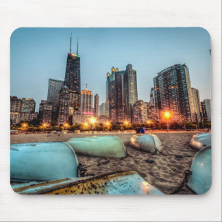 Canoes on Oak Street Beach a little after sunset Mouse Pad