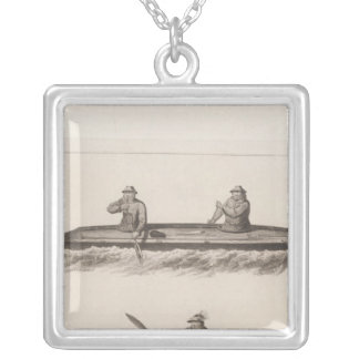 Canoes, Oonalashka, Alaska Square Pendant Necklace