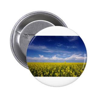 Canola crop under a Saskatchewan Sky Pinback Button