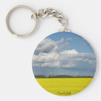 Canola field basic round button keychain