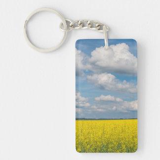 Canola Field & Clouds Double-Sided Rectangular Acrylic Keychain