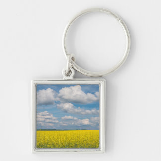Canola Field & Clouds Silver-Colored Square Keychain