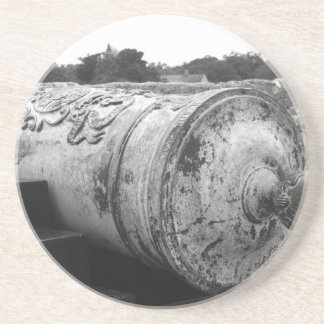 Canon at St Augustine Fort I bw Beverage Coasters