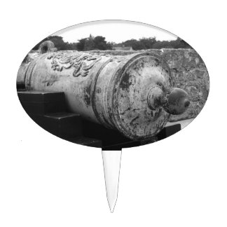 Canon at St Augustine Fort I bw Cake Toppers