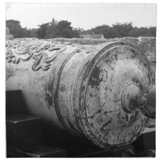 Canon at St Augustine Fort I bw Cloth Napkins