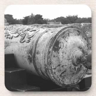 Canon at St Augustine Fort I bw Coasters
