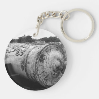 Canon at St Augustine Fort I bw Double-Sided Round Acrylic Keychain