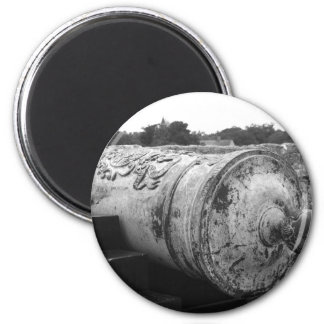 Canon at St Augustine Fort I bw Fridge Magnets