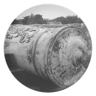 Canon at St Augustine Fort I bw Party Plates
