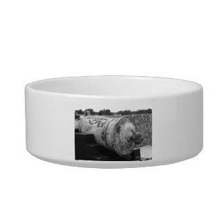 Canon at St Augustine Fort I bw Pet Bowls