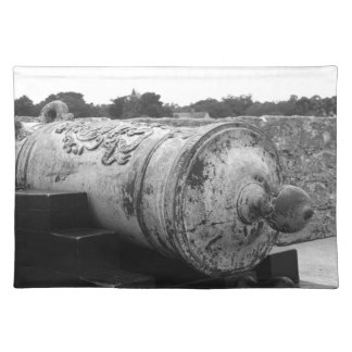 Canon at St Augustine Fort I bw Placemat