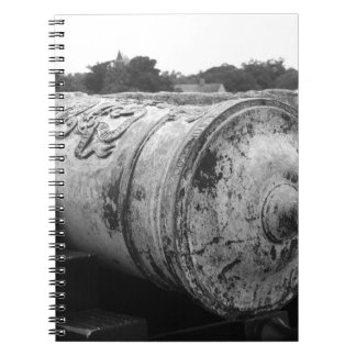 Canon at St Augustine Fort I bw Spiral Note Book