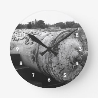 Canon at St Augustine Fort I bw Wall Clock