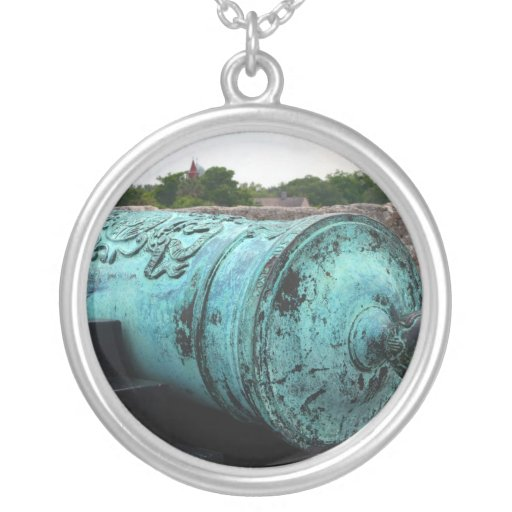 Canon at St Augustine Fort I Round Pendant Necklace