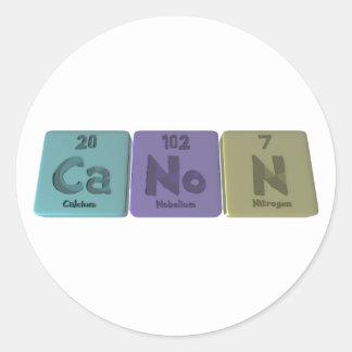 Canon-Ca-No-N-Calcium-Nobelium-Nitrogen.png Classic Round Sticker