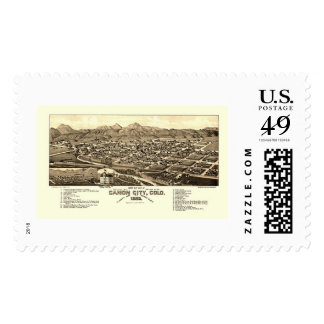 Canon City, CO Panoramic Map - 1882 Stamps