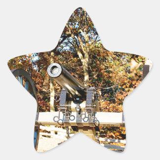 Cañón de la guerra civil pegatina en forma de estrella