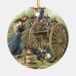 Cañón de la jarra de Molly de la bandera de los Adorno Navideño Redondo De Cerámica