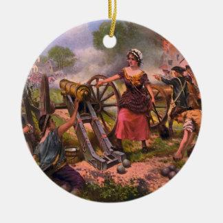 Cañón de la leña de la jarra de Molly en la Adorno Navideño Redondo De Cerámica