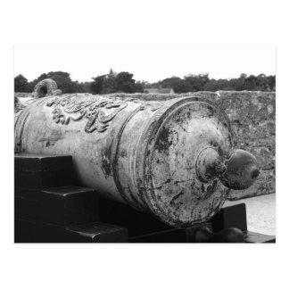 Canon en el bw del fuerte I de St Augustine Postal