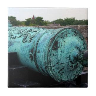Canon en el fuerte I de St Augustine Azulejo Cuadrado Pequeño