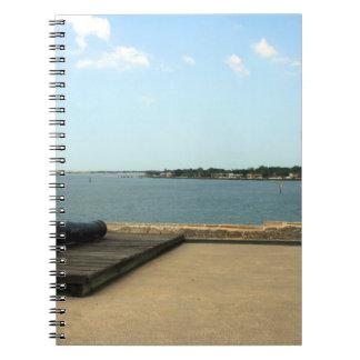 Canon en la plataforma sobre entrada en St Augusti Note Book