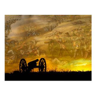 Cañón en la puesta del sol, campo de batalla del postal
