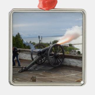 Canon Firing Metal Ornament
