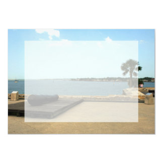 "Canon on platform over inlet in St. Augustine 5"" X 7"" Invitation Card"