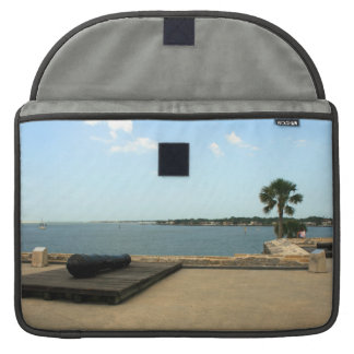 Canon on platform over inlet in St. Augustine MacBook Pro Sleeve