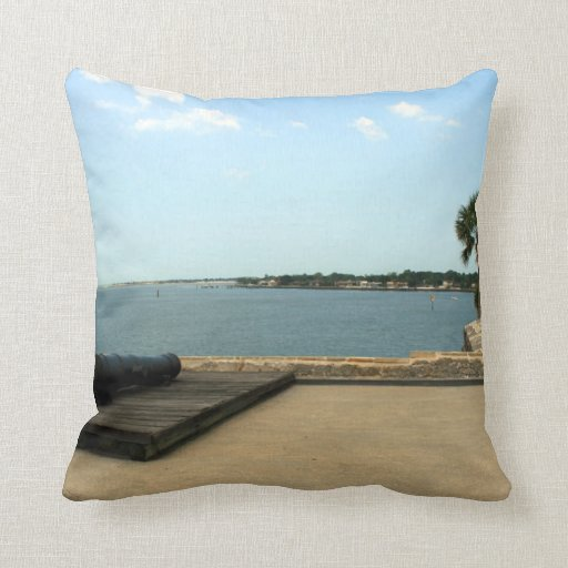 Canon on platform over inlet in St. Augustine Throw Pillows