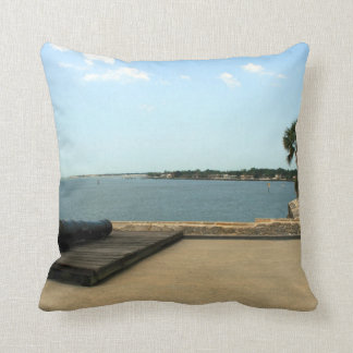 Canon on platform over inlet in St. Augustine Throw Pillow