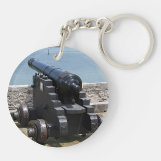 Canon over castle wall Double-Sided round acrylic keychain