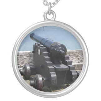 Canon over castle wall round pendant necklace