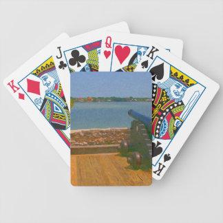 Canon sobre la pintura de la entrada barajas de cartas