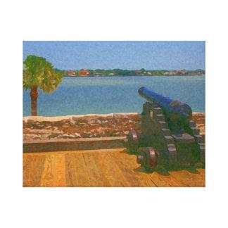 Canon sobre la pintura de la entrada impresión en lona estirada