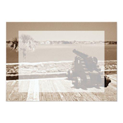 Canon sobre la sepia 1 de la entrada invitación 12,7 x 17,8 cm