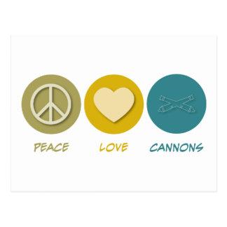Cañones del amor de la paz postales