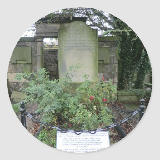 Canongate Kirk Grave of Robert Fergusson Poet Round Sticker