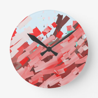 Canons of red, purple and brown ink. round clock