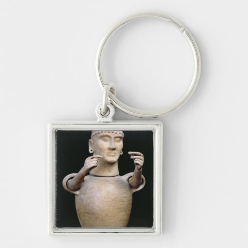 Canopic jar with moveable arms Silver-Colored square keychain