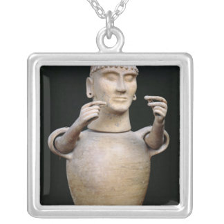 Canopic jar with moveable arms silver plated necklace