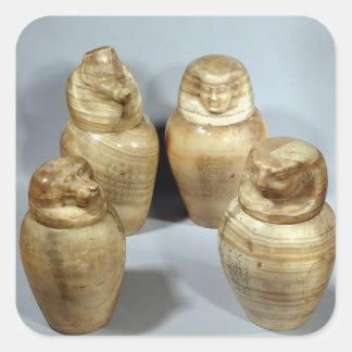 Canopic jars of Hor-ir-aa, Saite (alabaster) Square Sticker