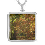 Canopy of Fall Leaves II Yellow Autumn Photography Silver Plated Necklace